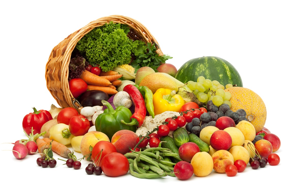 Cornucopia with fruit and veggies.